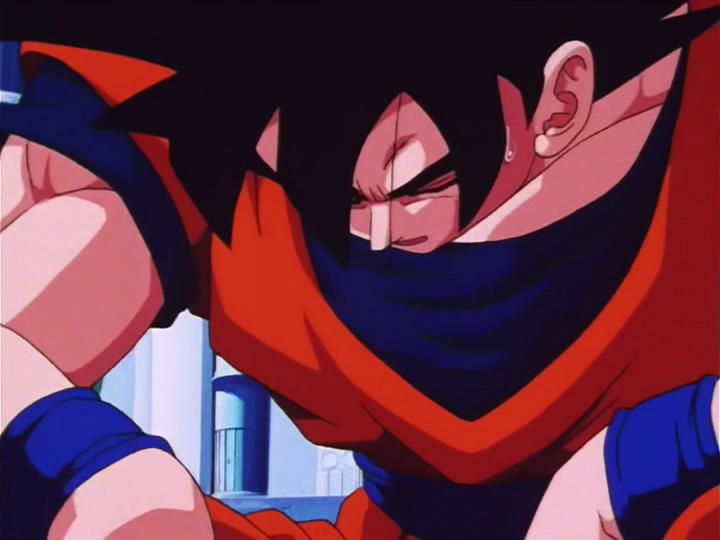 Son Goku z opuszczoną głową